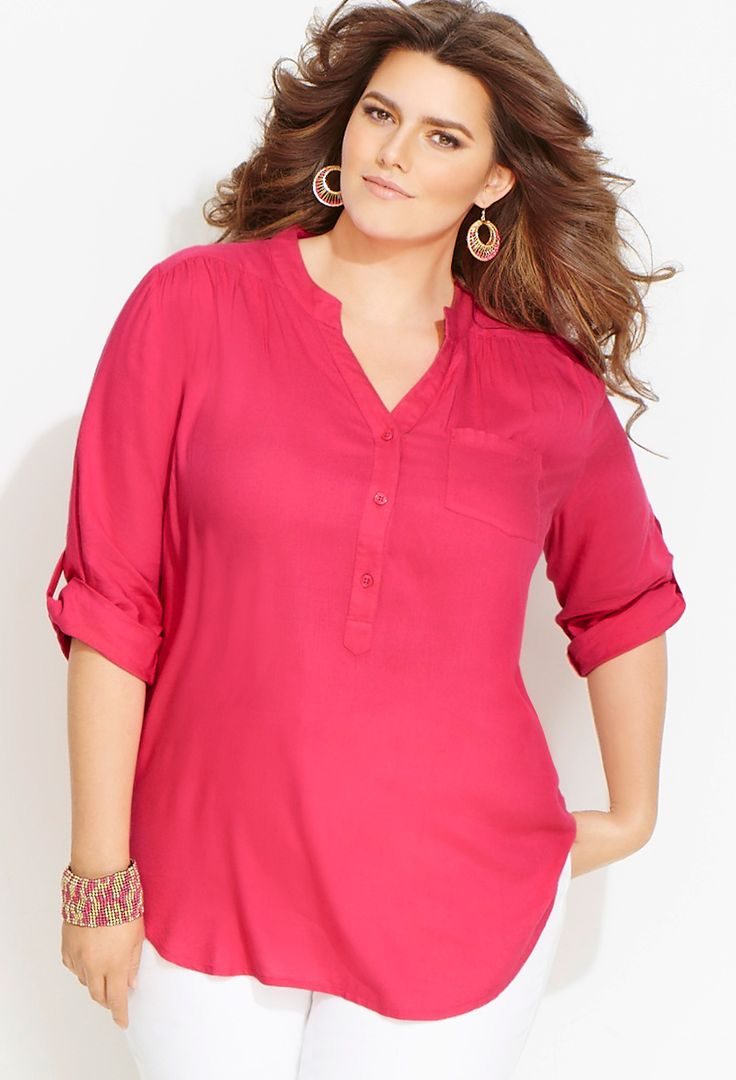 Plus Size Woven Boyfriend Tunic Blouse | Avenue