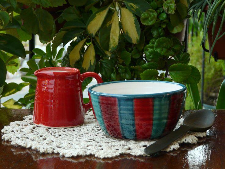 Bowls y lechera de cerámica. (Obra Inspiración Sustentable)