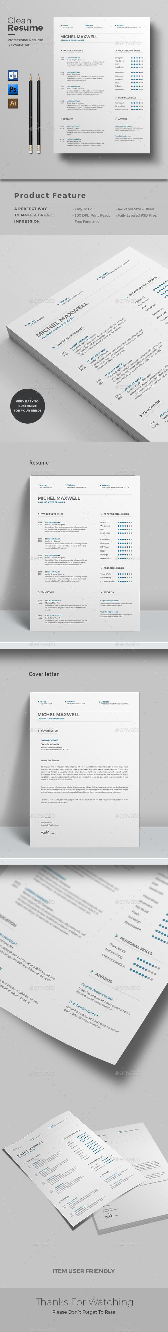 #Resume - Resumes #Stationery Download here: https://graphicriver.net/item/resume/15236929?ref=alena994