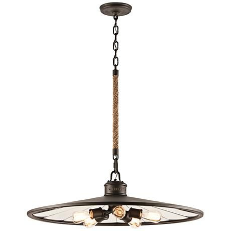 "Brooklyn 32"" Wide Iron Pendant  Chandelier with Rope Stem"