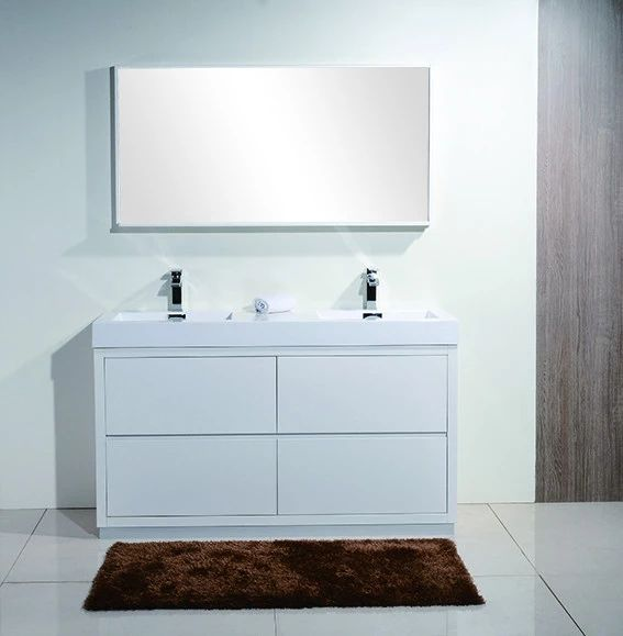 Bliss 60 Kubebath Modern Gloss White Vanity Double Sink With