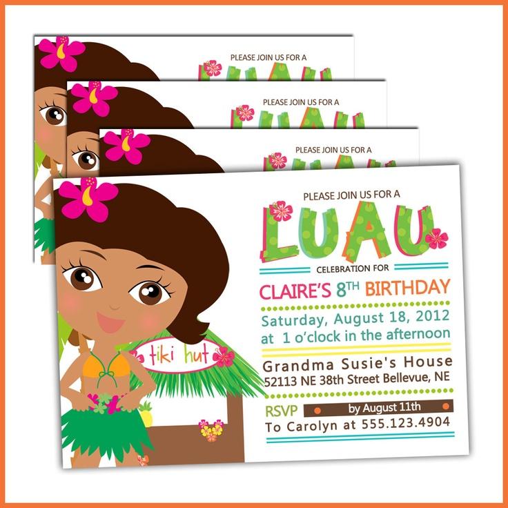 Luau Birthday Invitations for Girls Luau Party
