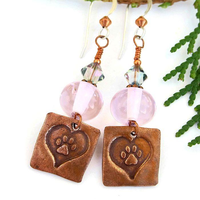 Dog Rescue Heart and Paw Print Earrings Pink Lampwork Swarovski Handmade  Dangle Jewelry