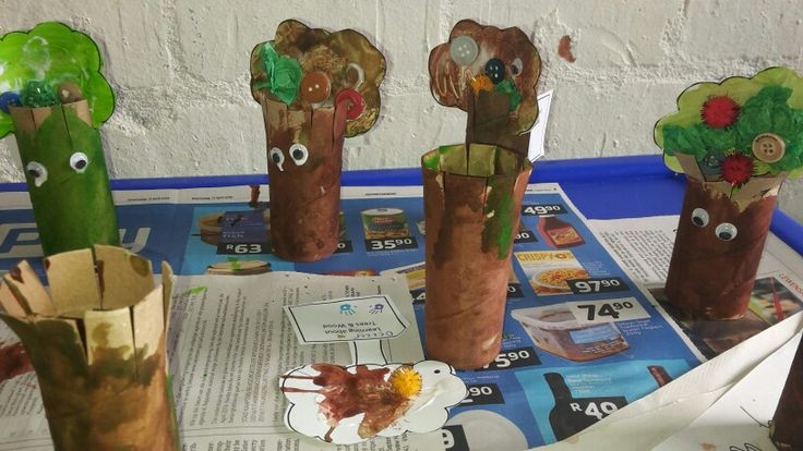 Our adorable toilet paper trees. Just add paint, glue, pom poms, buttons and googly eyes