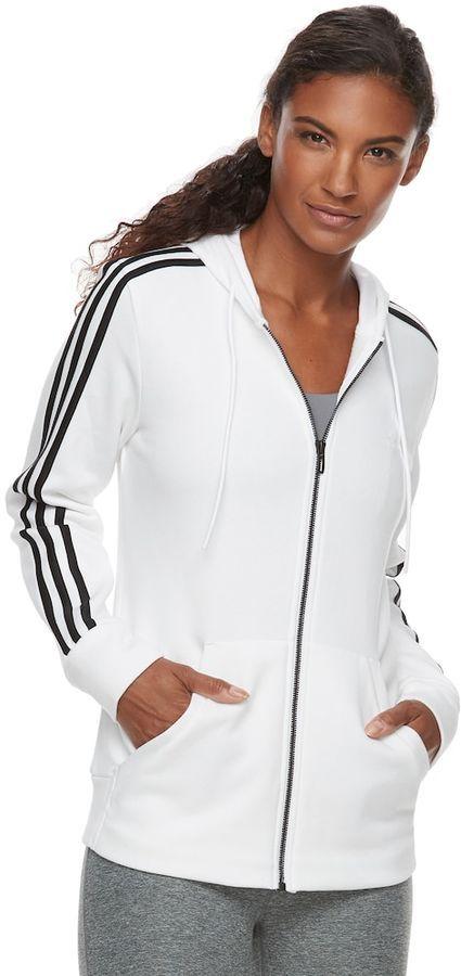adidas Women's Essential Fleece 3 Stripe Zip-Up Hoodie