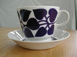 Leaf design cup and saucer from Arabia Finland