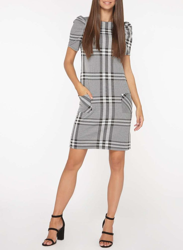 Womens **Tall Grey and Ivory Check Puff Sleeve Shift Dress- Grey