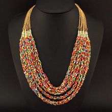 Moda frisado colar para as mulheres Handmade Multi colar de correntes de ouro colar de contas coloridas pingente boemia Collier N2275(China (Mainland))