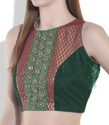 Buy green velvet blouse blouse online