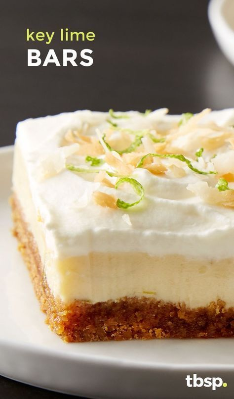 These key lime bars have everything we love about the beloved pie: delicious and tangy with the perfect amount of crumbly crust. The coconut whipped cream frosting takes this bar to the next level (and we're not mad).