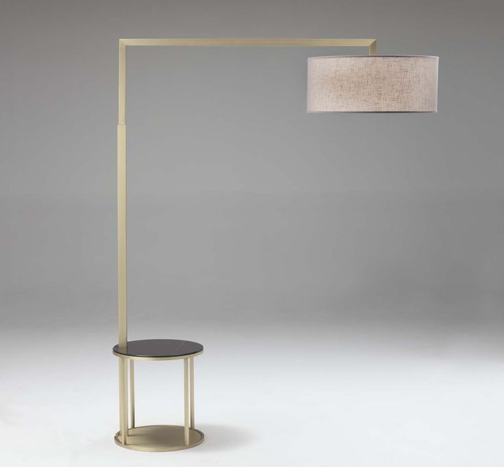 Silene floor lamp brushed brass coffee table brushed brass top cover golden night glossy