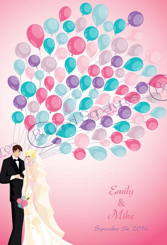 Modern Couple Holding Rainbow Balloons Wedding Guest Book Poster - www.beyondsignatures.com