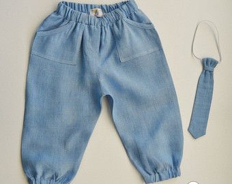 Baby Boy Pants~ Baby Boy Tie~ Baby linen pants~ Baby blue pants~ Hipster pants~ linen boys pants~ Christmas boy outfit~ baby 1st birthday