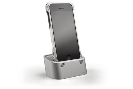 $99.00 - The Vapor Dock has a sturdy machined Aluminum body and is compatible with the Apple 8 pin Lightning cable to sync or charge iPhone 5 or iPod devices. Cable management is design into the bottom of the Vapor Dock to keep desk tops clear of excess cable clutter. Finely machined holes in front of the Vapor Dock work in conjunction with machined air chambers to amplify sound emitted from the tiny iPhone speakers.