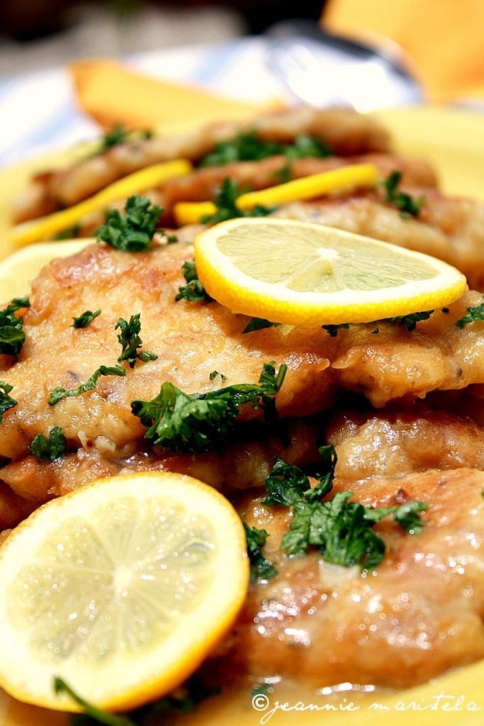 Chicken Piccata. To me it's not a true Piccata unless there are Capers. I would certainly add Capers to this.