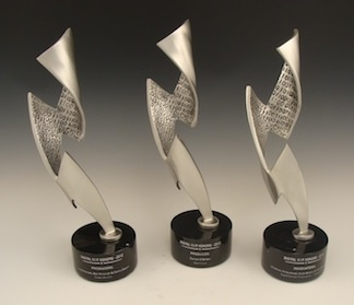 """Bennett Awards created these custom awards for the Producers Guild of America for their Digital VIP Awards. These awards honor producers who have made significant contributions to the advancement of digital entertainment and storytelling over the past year. This custom award design is based on an lightning bolt, signifying the spark of innovation. One side is smooth, representing """"clean sheet"""" creativity, while the other features 1's and 0's for the binary code used to create digital media."""