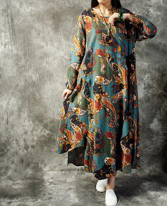 Linen Loose fitting Maxi Dress Women Linen Robe gown in by MaLieb