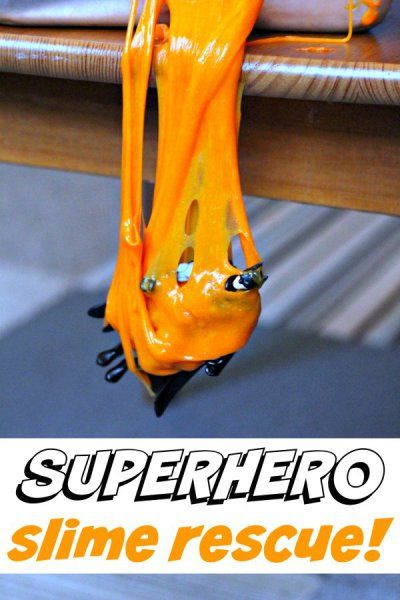 Kids activity slime play with superheroes. What a great boredom buster!