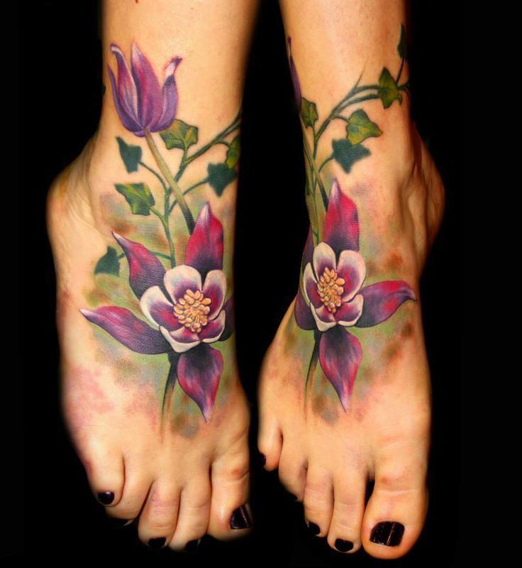Foot flowers & Ivy tattoo by Chris 51 of Area 51 Tattoo, Springfield, OR & Epic Ink TV A&E