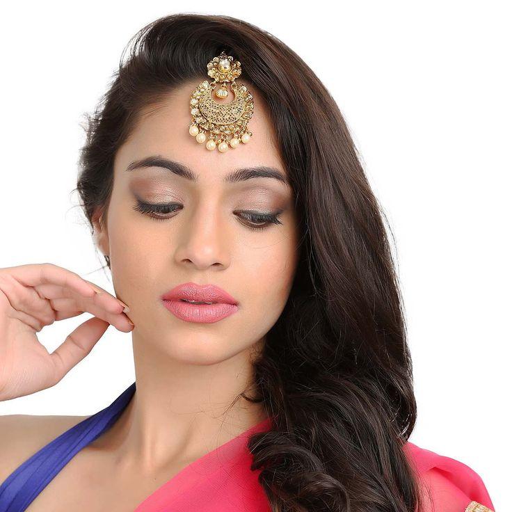 Tikka Antique  58395W #Kushals #Jewellery #FashionJewellery #IndianJewellery #WeddingAccessories #Maang Tikka #Antique