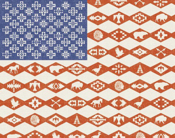 awelltraveledwoman: Cherokee design of an American flag with symbols