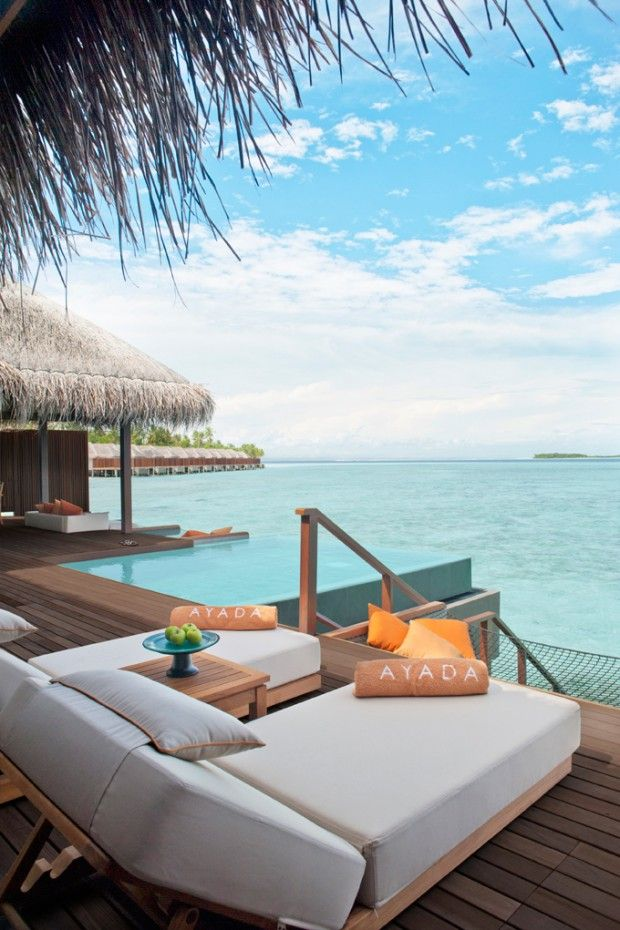 Ayada #Maldives Resort. Create this deck by your swimming pool for a resort feel. Landscape design Brisbane