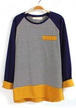 Yellow Striped Pocket Long Sleeve Cotton Blend T-Shirt