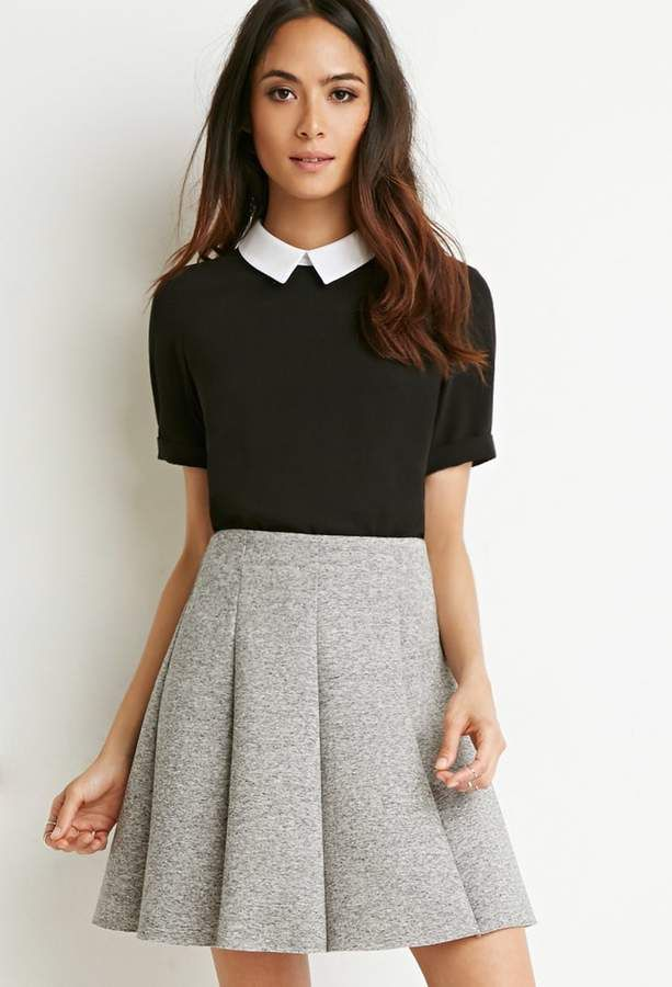 43ce12fd0a Click the link to steal the look! Forever 21 Scuba Knit Skater Skirt ...