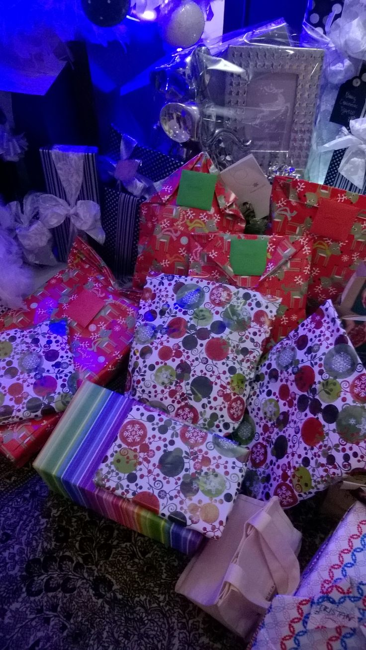 Red and colorful giftwrapping.
