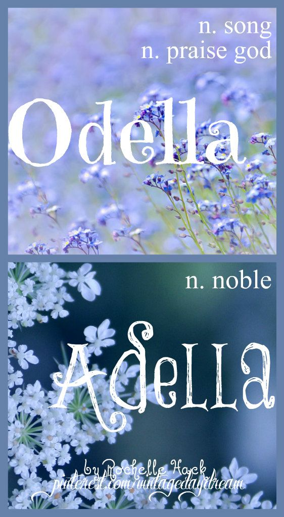 Baby Girl Name(s): Odella and Adella. Meaning: Song; Praise God. Origin: Greek; Hebrew. (Odella). Meaning: Noble. Origin: Latin; Old German. (Adella) https://www.pinterest.com/vintagedaydream/baby-names/