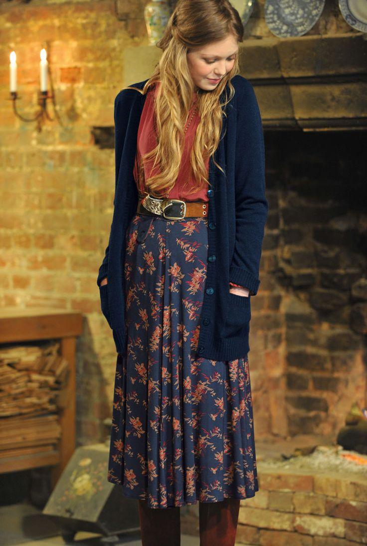 Leaf & Dash Full Circle Skirt-Brora