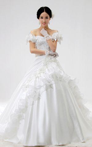 Satin Kapelle Schleppe romantisches bodenlanges Brautkleid mit gekappten Ärmeln mit Bordüre