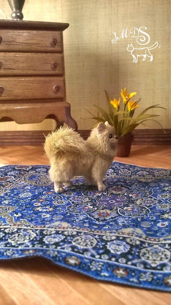 OOAK Dollhouse Miniature 1:12 Pomeranian dog Handmade Realistic #ooakdollhouseminiature