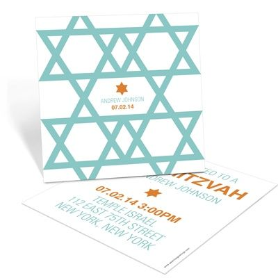 Custom Bar Mitzvah Invitations -- Molded Stars - Different colors available