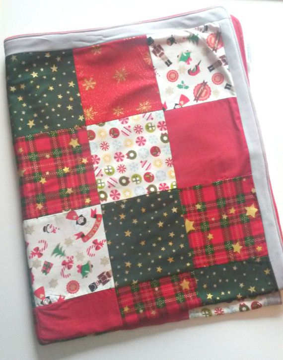 Christmas Throw Blanket Christmas Patchwork by LittleTsTextiles
