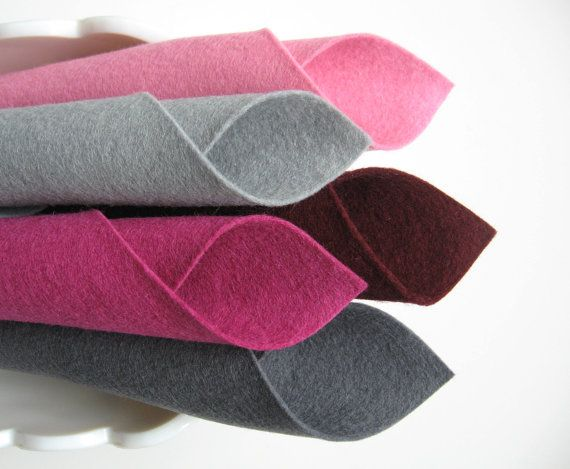 Wool Felt Fabric  Bucket of Berries Color Story by FeltOnTheFly, $15.00