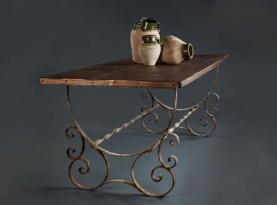 wood and wrought iron table