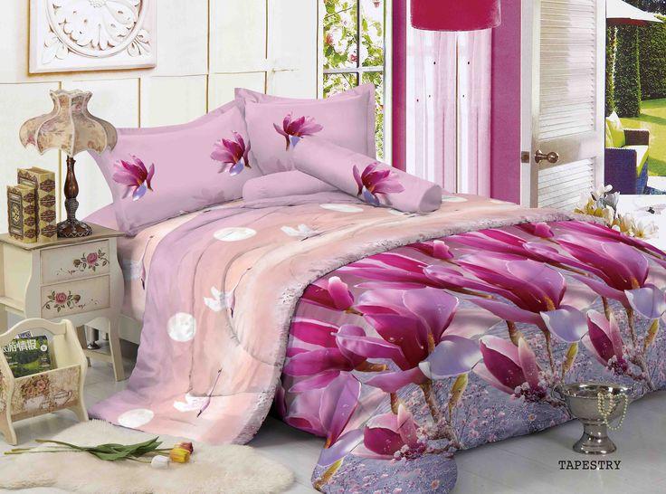 """TAPESTRY - """"Design bunga berkombinasi warna Pink dan Ungu ini mengesankan berani tampil beda utk kamar anda"""""""