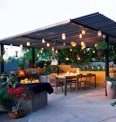 1. Frame 2. Left over roof metal 3. Lights  20 Beautiful Patios (on a Budget)
