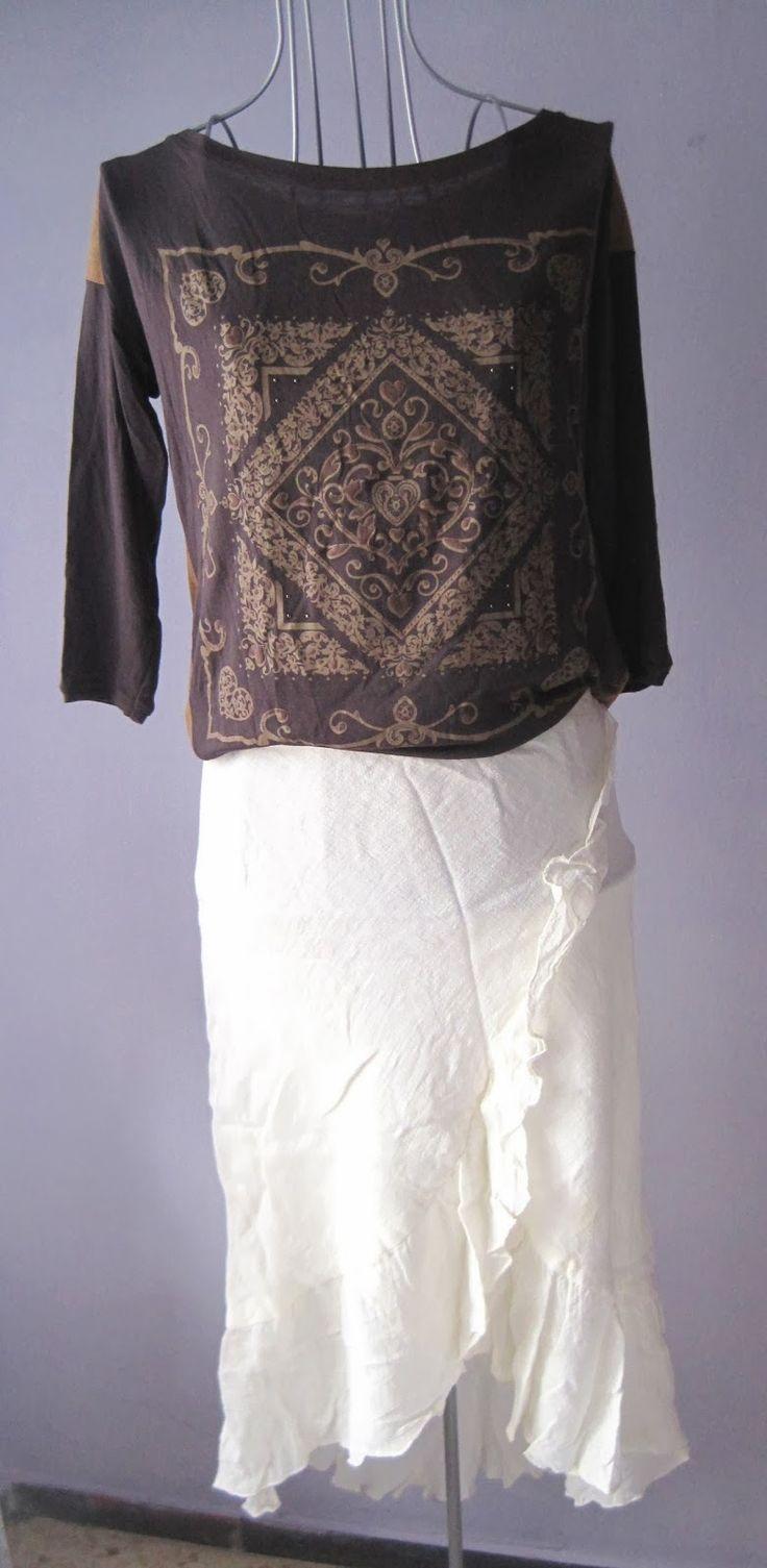 Falda de lino blanco roto de Zara talla 44 4€