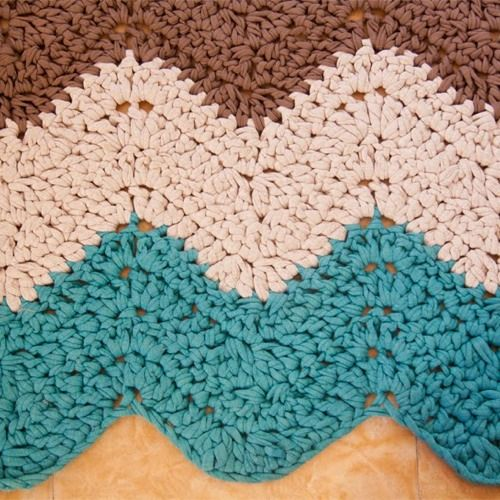 Patr n alfombra rectangular de trapillo crochet - Alfombras de trapillo ...