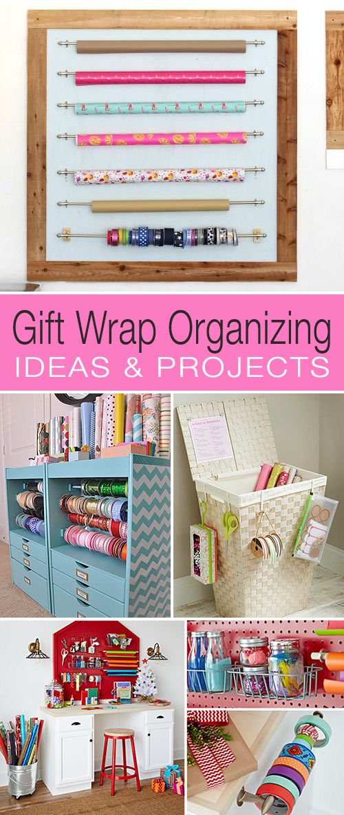Gift Wrap Organizing • Ideas & Projects! • We found you some great DIY projects to help you organize your wrapping supplies.