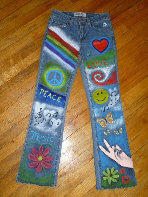 Jeans Hippie colores pintados a mano por SageMeadowDesigns en Etsy