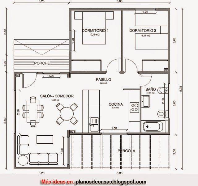 Plano de casa de madera de 79 m2 planos pinterest for Planos para casas