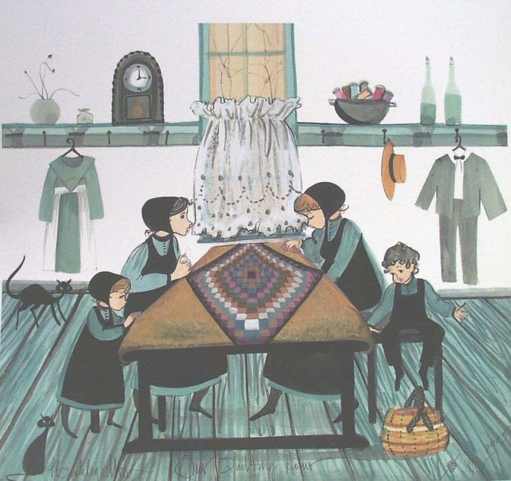 Our quilting hour is a limited edition print published by nationally known artist p buckley moss