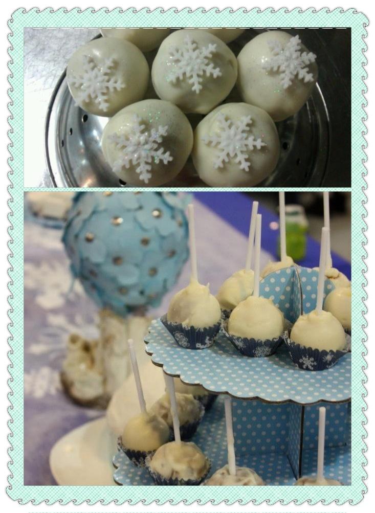 Winter themed party - Cake pops Vanilla cinnamon cake with vanilla ...