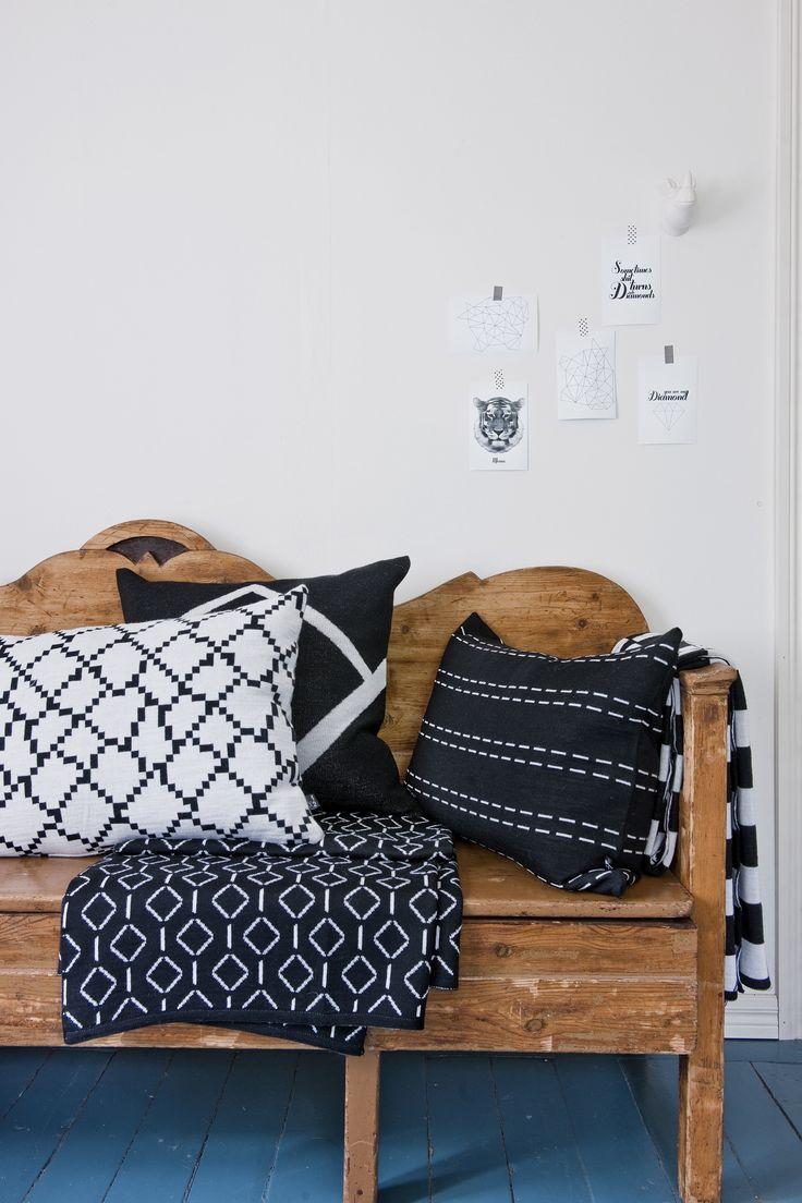 Seitti, Sormus and Polku-cushion covers, Rihmat and Kylä-blanket