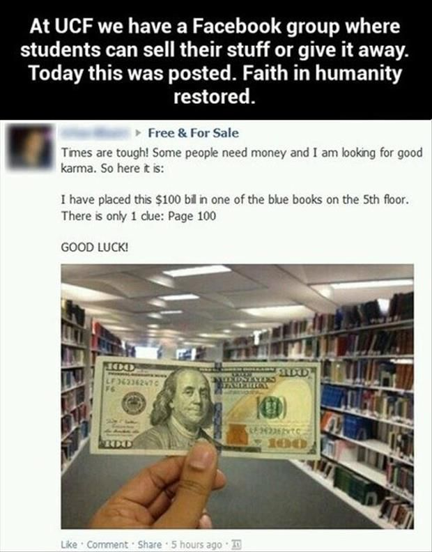 Such a kind thing to do, especially when times are tough and college students being no exception.