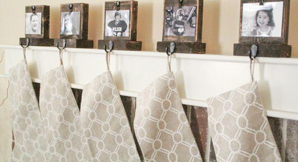 DIY photo stocking hangers