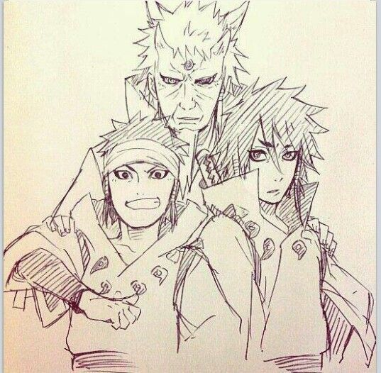 #Naruto - The Sage of Six Paths and his two sons, Ashura and Indra.
